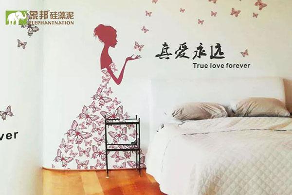 硅藻泥背景墙婚房装修效果图