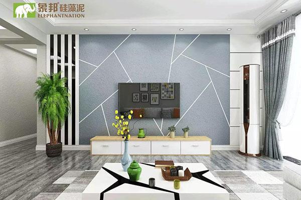 象邦硅藻泥的现代抽缝背景墙