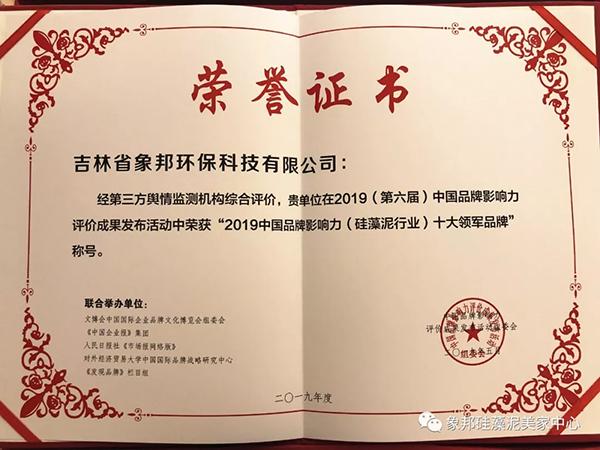 2019中国品牌影响力(硅藻泥行业)十大领军品牌